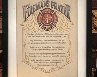 Firemans Prayer | Firefighter Protection | Fire Decor | Canvas Print | Canvas Decor | Wall Hanging | Firefighter | Retirement | Fireman Gift