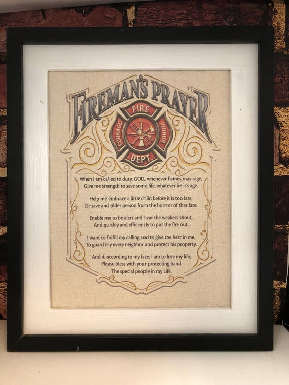 Firemans Prayer Firefighter Protection Fire Decor Canvas