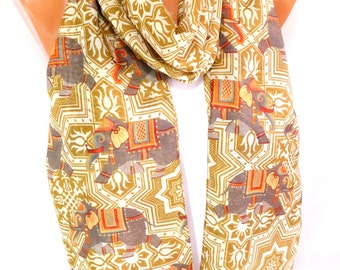 Scarf, Scarves, Shawl, Wrap, Elephant Scarf, Elephant Shawl, Elephant patterned, infinity Scarf, Lightweight Scarf, Gift for Christmas