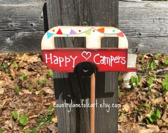 vintage camper, happy camper, plant pokes, camper plant stick, camper decor, mother gift from daughter,  plant decorations, red