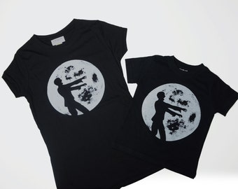 Matching Mother son or Mother daughter t-shirts, Mother's Day gifts, Mommy and me clothes, zombie full moon, ready to ship