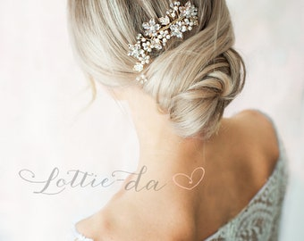 Gold or Silver Boho Flower Leaf Hair Vine, Bridal Hair comb,  Wire Flower Hair Comb, Boho Wedding Hair Vine leaves, Boho Headpiece - 'LARK'