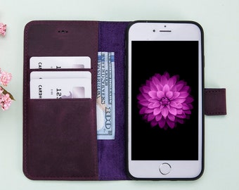 Purple Leather iPhone 7 Case, iPhone 7 Wallet, iPhone 7 Wallet Case, iPhone 7 Case Wallet, iPhone 7 Leather Wallet Case, iPhone Cases