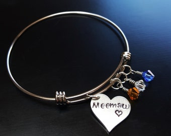 Meemaw Bangle Bracelet-Expandable-Personalize by Adding Swarovski Crystals-Great Gift Ideas