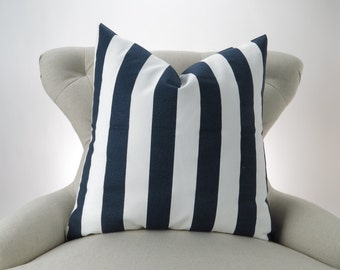 Navy Stripe Pillow Cover, Floor Pillow, Euro Sham, Nautical, Bold Navy Blue & White Canopy by Premier Prints, 24x24 26x26 28x28 inch