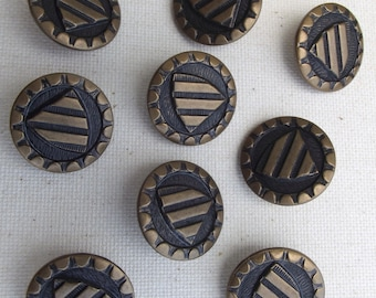 9 Vintage gold and Black buttons / shield / dressmaking / craft supplies / metal  / vintage buttons / sewing supplies / altered art