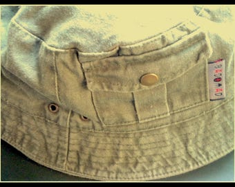 """Summer hat with Brim Choice logo """"bad + mad"""" cult brand since 1980-er years Sun protection Fisherman's hat hiking hunting cap cap Vintage"""