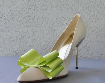 Apple Green Satin Ribbon Bow Shoe Clips Set Of Two, More Colors Available