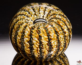 White Brown and Gold Sea Urchin / Sand Dollar Handcrafted Glass Paperweight