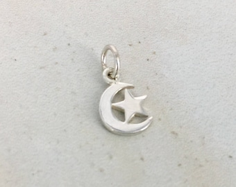 Cute Sterling Silver Crescent Moon and Star Charm  - Destash New