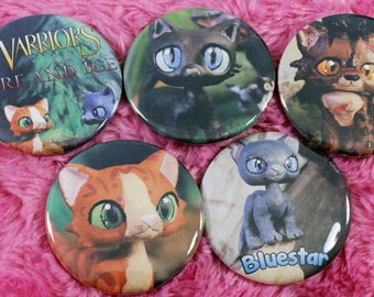All 5 Fire and Ice - Warrior Cats 2.25 in Pin Back Button Set