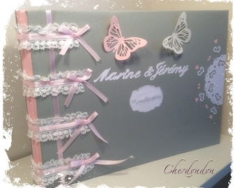 "Romantic wedding guest book, taupe and pink powder ""ruffles and lace"""