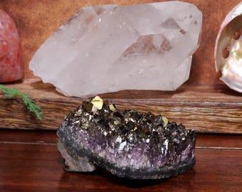 Bronze Amethyst Aura Crystal Quartz Point Cluster - ONE OF A Kind (RK68B1-08)