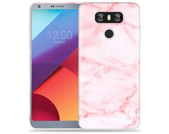 Lg G6 Case #Pink Marble Design Hard Phone Case