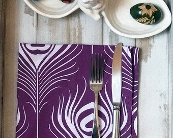 Cloth Napkins Easter Spring time Ultraviolet Peacock Purple White Cotton Set Eco Friendly Color of the Year Pantone