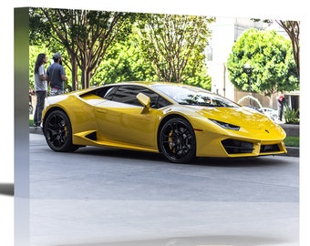 Lamborghini Huracan Yellow Vehicle Art Print Wall Decor - Canvas Stretched Framed