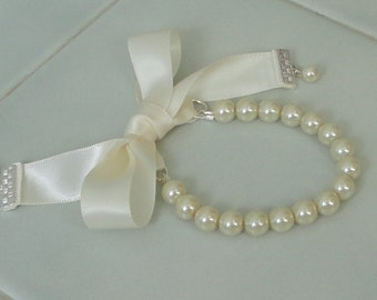 ON SALE Pick Your COLOR BRIDESmaid Gift Pearl Strand With Satin Ribbon WEDDing Maid Of Honor BRIdal Mother of Bride Bracelet