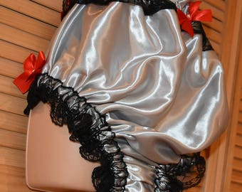 Sensual silver & black coloured satin lacy lounging and sleeping panties, big boy size,  Sissy lingerie
