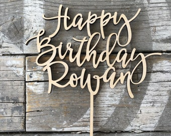 "Happy Birthday Name Cake Topper 6"" inches by Ngo Creations, Wood Cake Topper, Wooden Cake Topper, Rustic Birthday Topper"