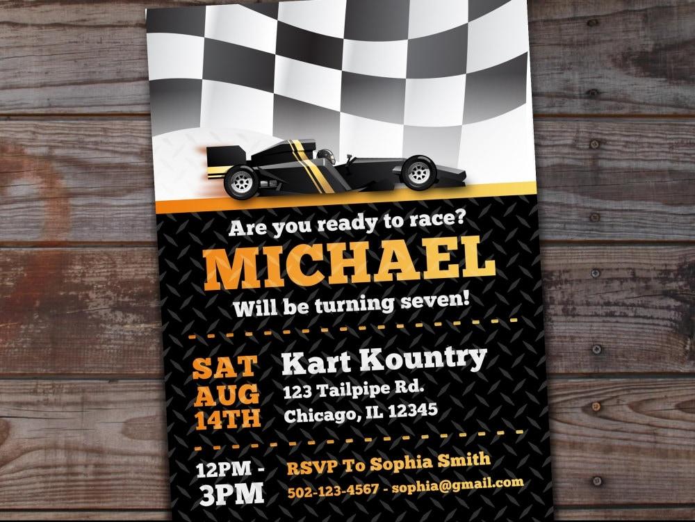 Go-Kart Birthday Invitation Karting Birthday Invitation