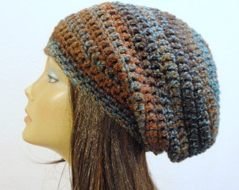 Womens Hat, Slouchy Beanie, Knit Hat, Slouchy Hats, Brown and Blue Beanie, Tweed Striped Slouch Beanie, Oversized Hat