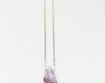 Handmade Raw Double Point Amethyst Crystal Necklace