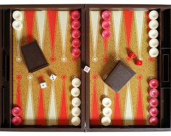 Lowe Tournament Backgammon Set 1973 Board Game Dice E4314 MIB