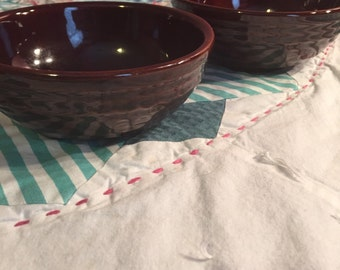 Vintage 2 Piece Set Cereal or Soup Bowls Daisy Dot Marcrest Made in The USA #3407
