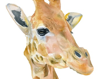 Giraffe Watercolor Painting - 8 x 10 - Giclee Print Reproduction 8.5 x 11 - African Animal - Nursery Art