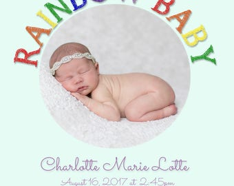 Rainbow Girl baby birth announcement - proceeds to charity