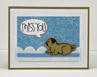 Pug Miss You Card, Dog Miss You Card, Handmade Pug Card