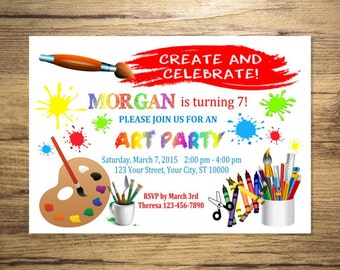 Art Party Invitation, Art Birthday Party Invitation, Painting, Coloring, Colorful Art Party Invites, Digital or Printed