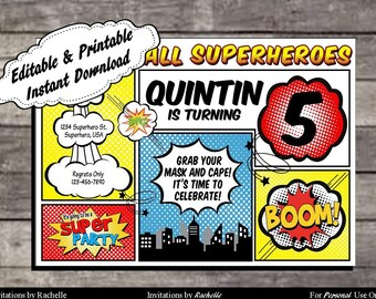 Superhero Invitation Comic Birthday Party - Editable Printable Digital File with Instant Download