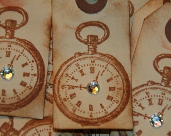 12 Primitive Vintage Clock- Pocket Watch Gift Tags with Rhinestone Embellishment
