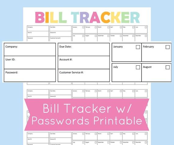 bill organizer template
