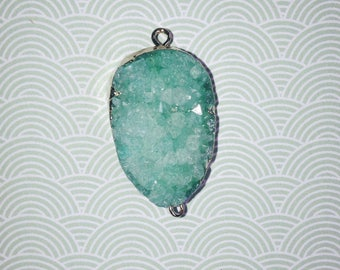 Druzy Quartz Geode green stone connector