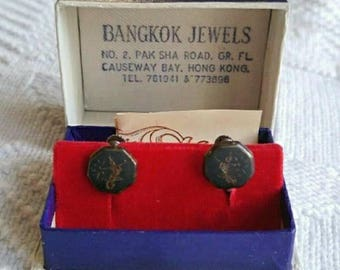 Vtg Siam sterling earrings in original box! Bangkok Jewels screwback