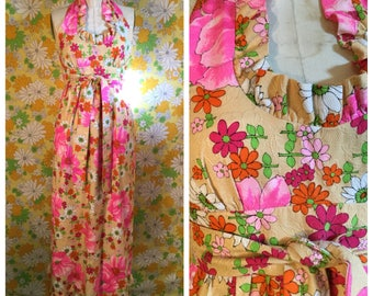 SALE! 70s Vintage Psychedelic Floral Maxi Wrap Dress Small Medium