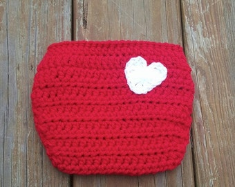 Handmade Diaper Cover, MADE TO ORDER, Red with White Heart on Back, Gender Neutral