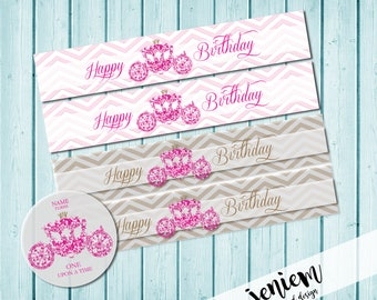 Princess Party Birthday Water Bottle Wraps
