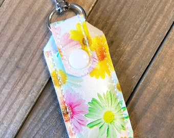 Lip Balm Holder, Lip Balm Keychain, Lip Balm Cozy, Chapstick Holder---Daisies, Flowers