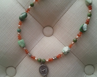 Pewter medallion with natural stones necklace