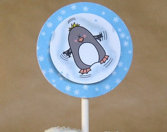 winter holiday penguin snow angel cupcake cake toppers decorations can be personalized - set of 12