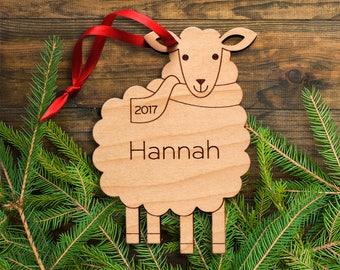 Wooden Sheep Ornament: Personalized Name 2018, Farm Animal Ornament, Lamb, Kids, Baby, Boy or Girl