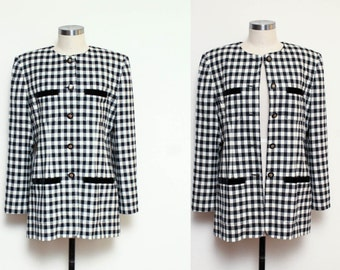 Checkered Black and White Blazer // 80s Structured Classic Houndstooth Regal Chic Jacket Size Medium