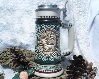 """lidded beer stein - vintage Avon Beer Stein 1978 - collectible stein -  Beer Stein from Avon - Titled """"Sporting Stein""""  - # 90"""