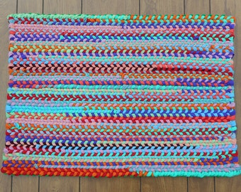 Multicolor Twined Rag Rug Made with Knit Fabrics