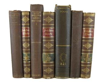 Farmhouse Decor, Earth-tone Blue  Vintage Books, Distressed Antique Book Bundle,  Decorative Books,  Staging Prop, Vintage Books, Old Books