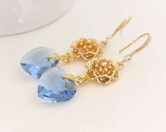 Ocean Blue Crystal Glass Earrings, Blue & Gold Earrings, Everyday Wear Blue Crystal Earrings, Bridesmaids Gifts, Blue Gold wedding