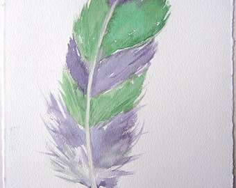 Feather painting in green and purple/ Fantasy feather illustration 7,5'x11'/ Watercolor original only/ Feather wall art/ Home decoration